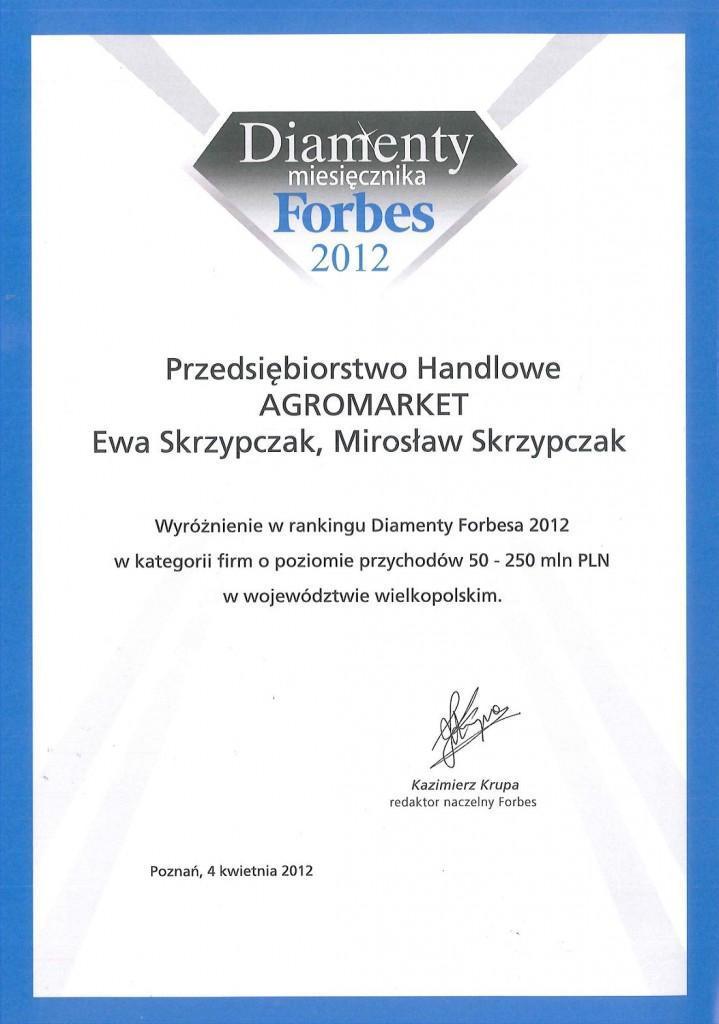 Wyróżnienie w rankingu Diamenty Forbesa 2012